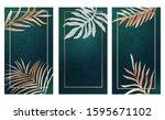 golden leaf on teal foil... | Shutterstock .eps vector #1595671102