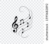 music notes on wavy lines with... | Shutterstock .eps vector #1595682892