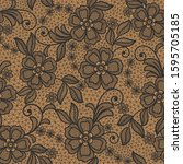 seamless  abstract lace floral  ... | Shutterstock .eps vector #1595705185