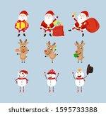 santa claus  reindeer and snow...   Shutterstock .eps vector #1595733388