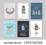 set of winter holidays greeting ... | Shutterstock .eps vector #1595742358