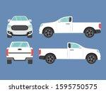 set of white pickup truck... | Shutterstock .eps vector #1595750575