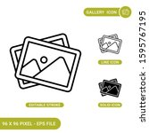 gallery icons set vector...