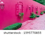 Pink Street With Green Plants ...