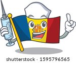 hospitable cute nurse flag... | Shutterstock .eps vector #1595796565