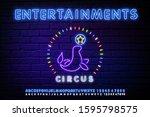 circus seal blue glowing neon...