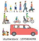 people  bicycles  automobiles.... | Shutterstock .eps vector #1595804098
