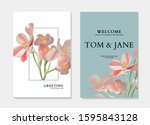 exotic flowers and leaves... | Shutterstock .eps vector #1595843128