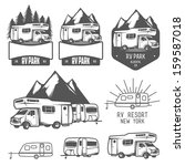 rv and caravan park badges and... | Shutterstock .eps vector #159587018
