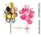 foil  balloons decoration set. ... | Shutterstock .eps vector #1595881252