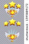 set of stars on a transparent... | Shutterstock .eps vector #1595889172