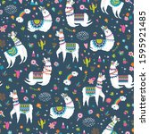seamless pattern with llama ... | Shutterstock .eps vector #1595921485