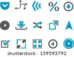 vector icons pack   blue series ... | Shutterstock .eps vector #159593792
