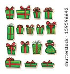 set of nice gifts of green... | Shutterstock .eps vector #159596642