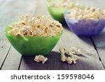 Popcorn In Plastic Bowls Over...