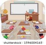 illustration of stickman kids... | Shutterstock .eps vector #1596004165