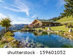 mountain chalet with swimming... | Shutterstock . vector #159601052