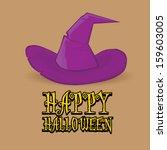 cartoon halloween poster with... | Shutterstock . vector #159603005