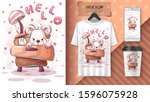 teddy bear poster and... | Shutterstock .eps vector #1596075928