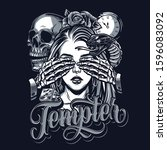 temptation chicano style tattoo ... | Shutterstock .eps vector #1596083092