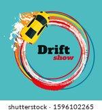 drifting car top view....   Shutterstock .eps vector #1596102265