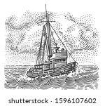 vintage fishing boat engraving... | Shutterstock .eps vector #1596107602