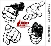 hands with guns and hand... | Shutterstock .eps vector #1596129982