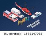 emergency service isometric...   Shutterstock .eps vector #1596147088