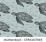 seamless texture with turtle.... | Shutterstock .eps vector #1596167065