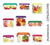 plastic and glass containers... | Shutterstock .eps vector #1596201598