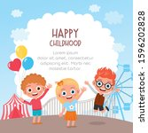 happy kids jumping and dancing... | Shutterstock .eps vector #1596202828