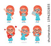 set of kids characters and... | Shutterstock .eps vector #1596202855