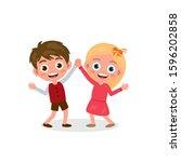cartoon little kids dancing.... | Shutterstock .eps vector #1596202858