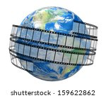 film strip and globe. earth map ... | Shutterstock . vector #159622862