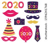 new year 2020 party props ... | Shutterstock .eps vector #1596241768