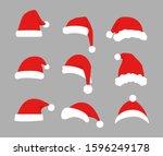 flat santa hats. christmas... | Shutterstock .eps vector #1596249178