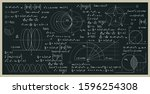 math and science formulas with... | Shutterstock .eps vector #1596254308