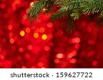 xmas tree on bllurred red... | Shutterstock . vector #159627722