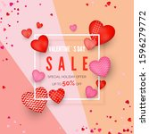 valentines day discount poster. ... | Shutterstock .eps vector #1596279772