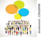 a big group of people gather... | Shutterstock .eps vector #159628988