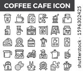 coffee cafe outline icons.... | Shutterstock .eps vector #1596302425