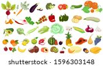 set of fruits and vegetables... | Shutterstock .eps vector #1596303148