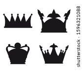 set crown icon royal  luxury...