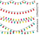 christmas lights set  colorful... | Shutterstock .eps vector #1596351778