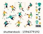 football soccer player set of... | Shutterstock .eps vector #1596379192