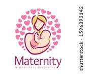maternity logo design template  ... | Shutterstock .eps vector #1596393142