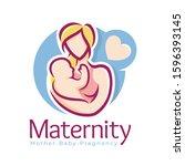 maternity logo design template  ... | Shutterstock .eps vector #1596393145