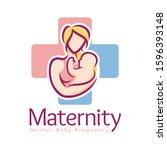 maternity logo design template  ... | Shutterstock .eps vector #1596393148