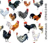 Roosters Seamless Pattern. Far...