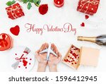 valentine's day. a beautiful... | Shutterstock . vector #1596412945